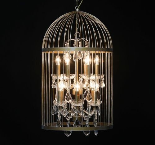 Bird Cage Chandelier in Antique Gold Large